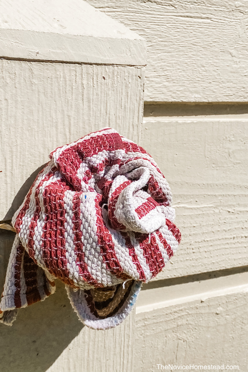 towel wrapped around outdoor faucet